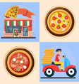 ast delivery man and pizza colorful vector image vector image