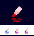 beauty blog logo lipstick and letters line vector image vector image