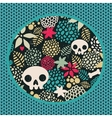Big skulls and flowers background vector image vector image