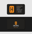 black business card with the yellow letter h vector image