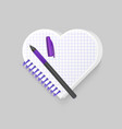 blank spiral notepad notebook with shape of heart vector image vector image