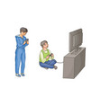 boy playing video game kid using phone vector image vector image