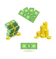 cartoon set of bill money currency images with vector image vector image
