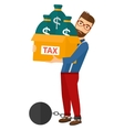 Chained man with bags full of taxes vector image vector image