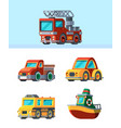 children toys stylized vehicles in cartoon style vector image