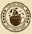 Coffee house stamp with cup vector image vector image