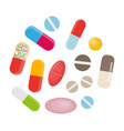 colored pills and capsules big medical set vector image vector image