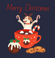 cute dog in christmas reindeer antlers with mug of vector image vector image