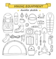 doodle set hiking and camping equipment vector image
