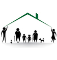 family rosilhouettes woman man children f vector image vector image