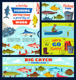 fisherman and fishery items fish and tackles vector image vector image