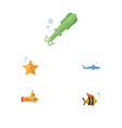 flat icon marine set of octopus sea star shark vector image vector image