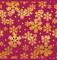 golden red christmas snowflakes seamless pattern vector image