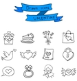 Hand draw of valentine icons vector image vector image