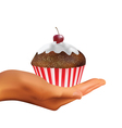 hand holding muffin vector image vector image