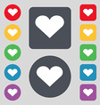 Heart Love icon sign A set of 12 colored buttons vector image vector image