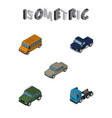isometric automobile set of autobus truck vector image vector image
