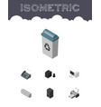 isometric business set of printing machine vector image vector image