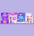 kids birthday party invitation cartoon banners vector image