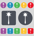 Mace icon sign A set of 12 colored buttons Flat vector image