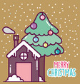 merry christmas celebration gingerbread house and vector image