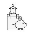 paper bag piggy bank money coin online shopping vector image vector image