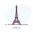 paris eiffel tower line style vector image