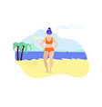 plus size young woman posing on beach summertime vector image vector image
