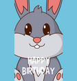 rabbit cute birthday card vector image vector image