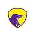 Raven Head Woodcut Retro Shield vector image vector image