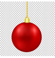 red christmas decor ball on golden thread vector image vector image