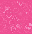seamless pattern with hand drawn cute hearts vector image