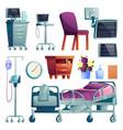 set hospital ward interior equipment isolated vector image vector image