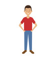 smiling man in casual clothes with hands in vector image vector image