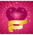 sparkling pink valentine heart and banner vector image vector image