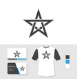 star logo design with business card and t shirt vector image