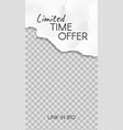 torn paper story paper scraps limited time offer vector image vector image
