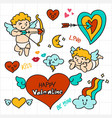 Valentine doodle cupid holding arrow love icon