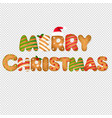xmas gingerbread text transparent background vector image