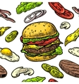 Seamless pattern burger include cutlet tomato vector image