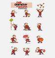 12 poses of child character in autumn vector image vector image