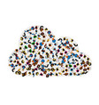 a group of people in a shape of cloud icon vector image vector image