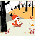 baby fox play wing in the spring forest vector image vector image