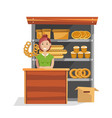 bakery products on street wooden counter and vector image