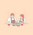 bankrupt and calculating restaurant expenses vector image vector image