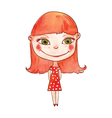 beautiful red haired girl vector image vector image