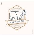 beef farm linear logo vector image vector image