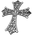 black and white carved religious cross vector image