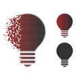 broken dotted halftone electric bulb icon vector image vector image