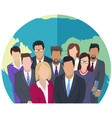 businesspeople standing near world globe office vector image